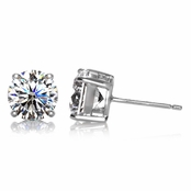 Jessica's Cubic Zirconia Silver Tone Stud Earrings - 4 TCW