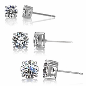 Jessica's CZ Stud Earrings Bundle -  1.5 TCW, 2.5 TCW, 4 TCW