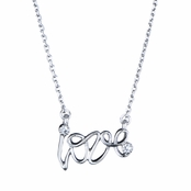 Joelle's Silvertone Love Necklace