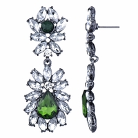 Jonita's Rhinestone Fancy Earrings - Emerald
