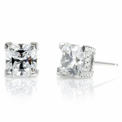 Joselyn's 3 TCW Cushion Cut CZ Stud Earrings