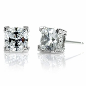 Joselyn's 3 TCW Cushion Cut CZ Diamond Stud Earrings