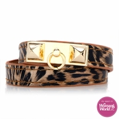 Josie's Leopard Print Faux Leather Wrap Bracelet