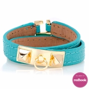 Josie's Turquoise Blue Faux Leather Wrap Bracelet