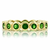 Joy's Goldtone Eternity Ring - Green CZ