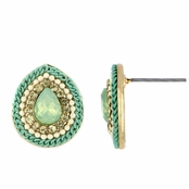 Joy's Bohemain Beaded Pear Shape Stud Earrings - Mint Green
