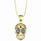 Juana's Goldtone CZ Skull Charm Necklace