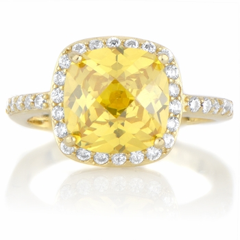 Julianna's Simulated Canary Simulated Diamond Ring - Goldtone