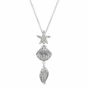 July's Sea Shell Charm CZ Necklace