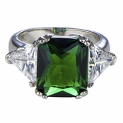 Juni's Three Stone Emerald and Trillion Cut Green CZ Ring