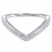 Kai's CZ Double Row V Stackable Eternity Band