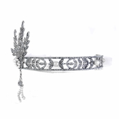 Kaira's CZ and Imitation Pearl Art Deco Head Band