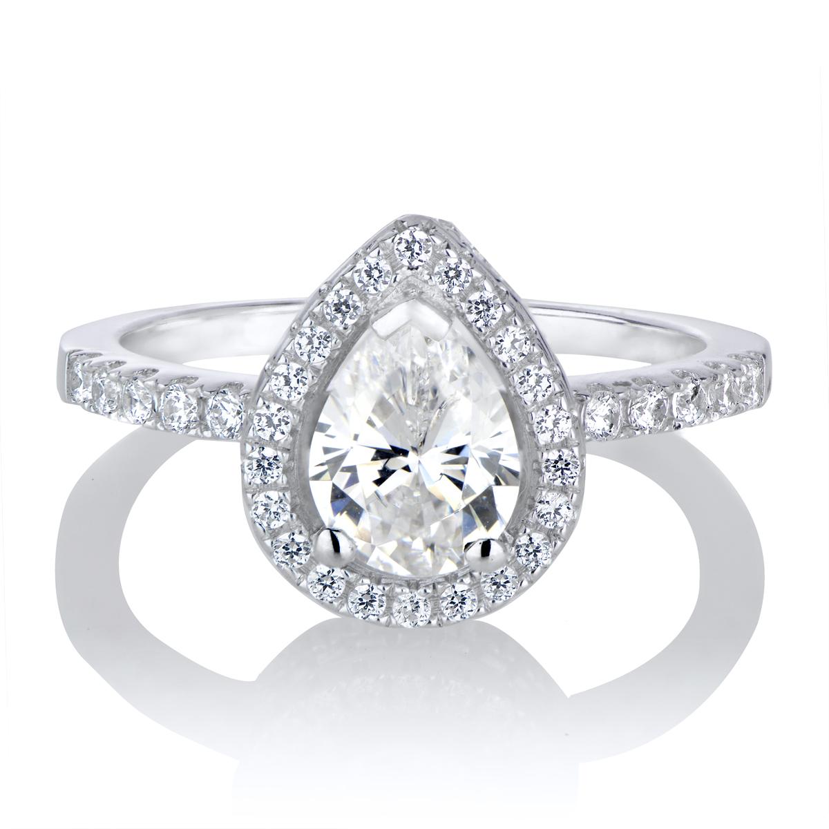 Kajana s 2ct CZ Pear Cut Halo Engagement Ring