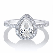 Kajana's 2ct CZ Pear Cut Halo Engagement Ring