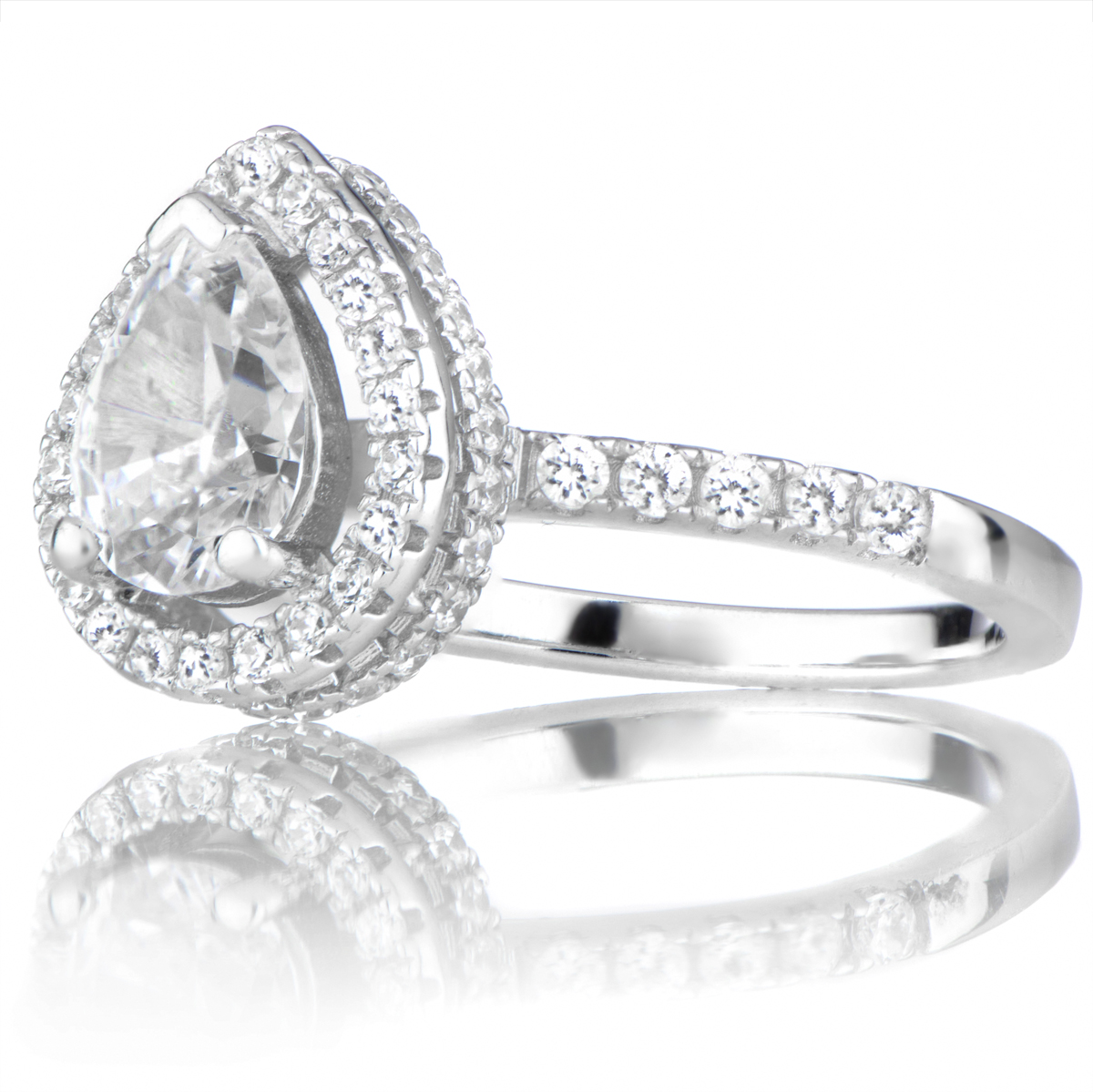 Halo Ring Pear Cz Halo Ring