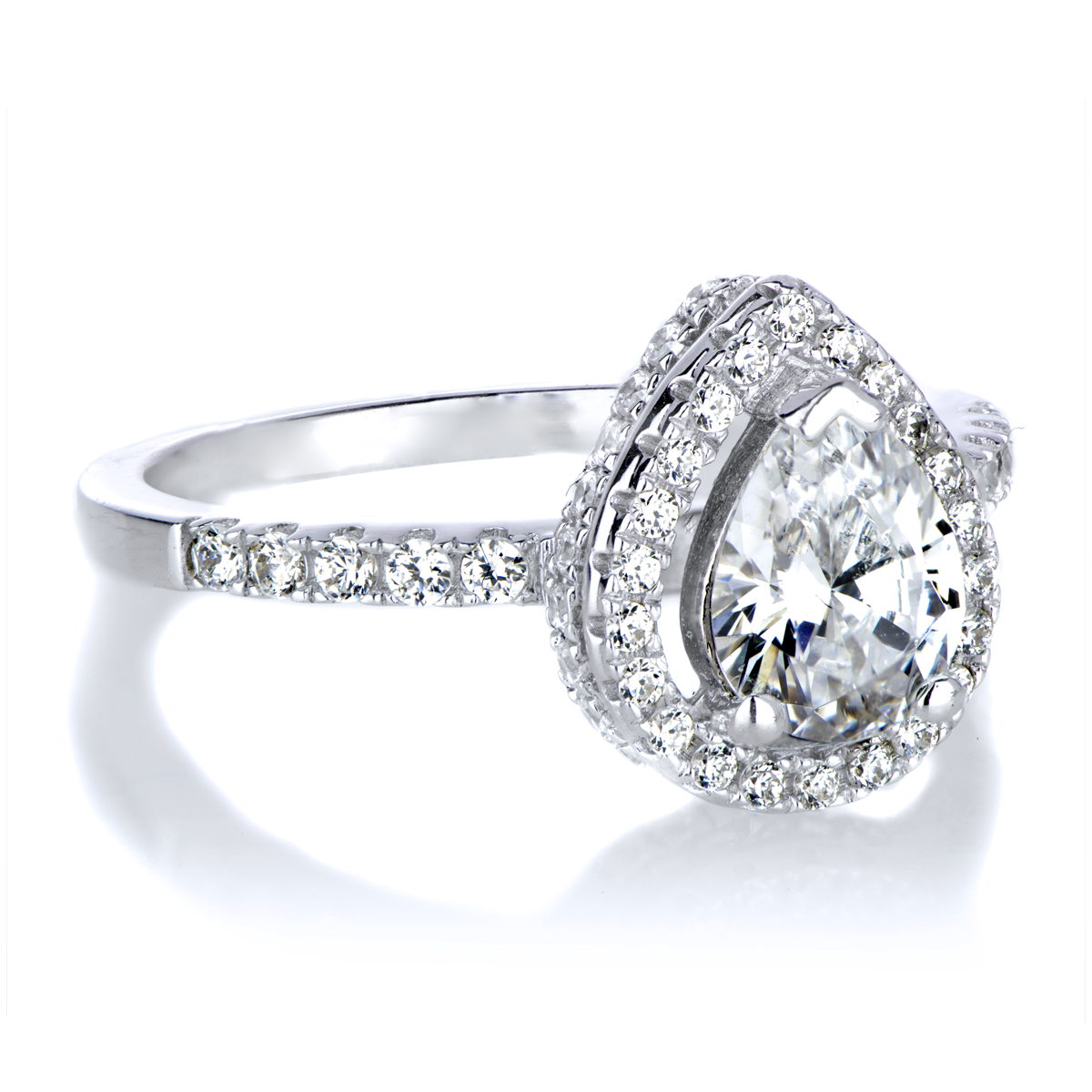pear halo engagement rings www imgkid the image
