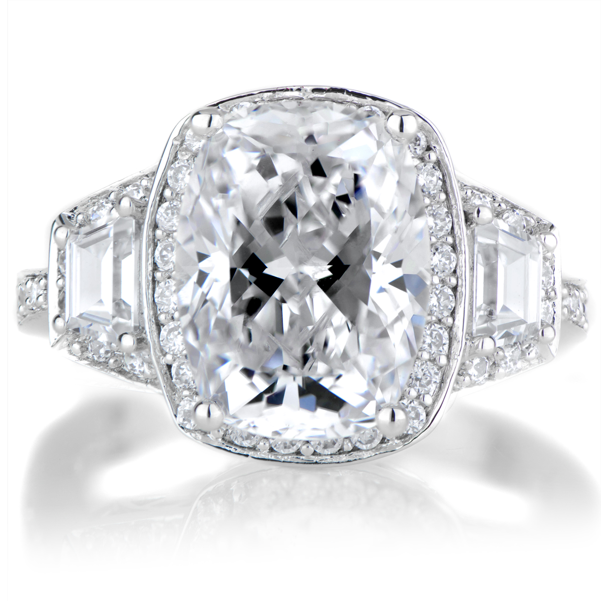 Kala s Cushion Cut Silvertone Engagement Ring