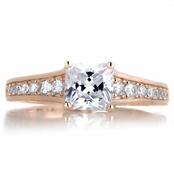 Kalma's 2ct CZ Rose Gold Tone Princess Cut Engagement Ring