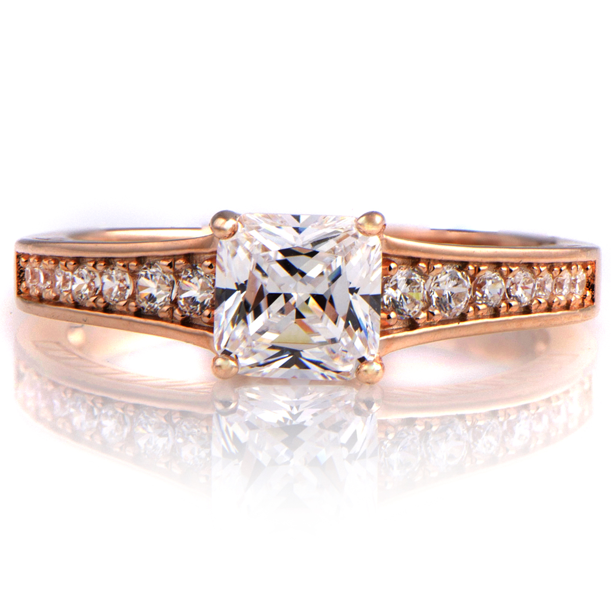 Kalma s 2ct CZ Rose Goldtone Princess Cut Engagement Ring