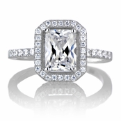 Karda's 3.5ct Emerald Cut CZ Halo Engagement Ring