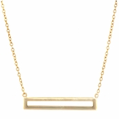 Karice's Simple Goldtone Bar Charm Necklace