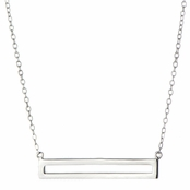 Karice's Simple Silvertone Bar Charm Necklace