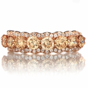 Karita's Rose Gold Tone & Champagne CZ Wedding Band