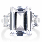 Luxury Emerald Cut CZ Engagement Ring - Silvertone