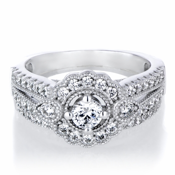 Karola's Art Deco Cubic Zirconia Wedding Ring Set