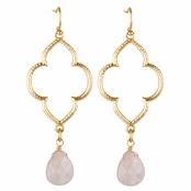 Kasey's Goldtone and Pink Beaded Boho Dangle Earrings