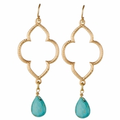 Kasey's Goldtone and Imitation Turquoise Beaded Boho Dangle Earrings