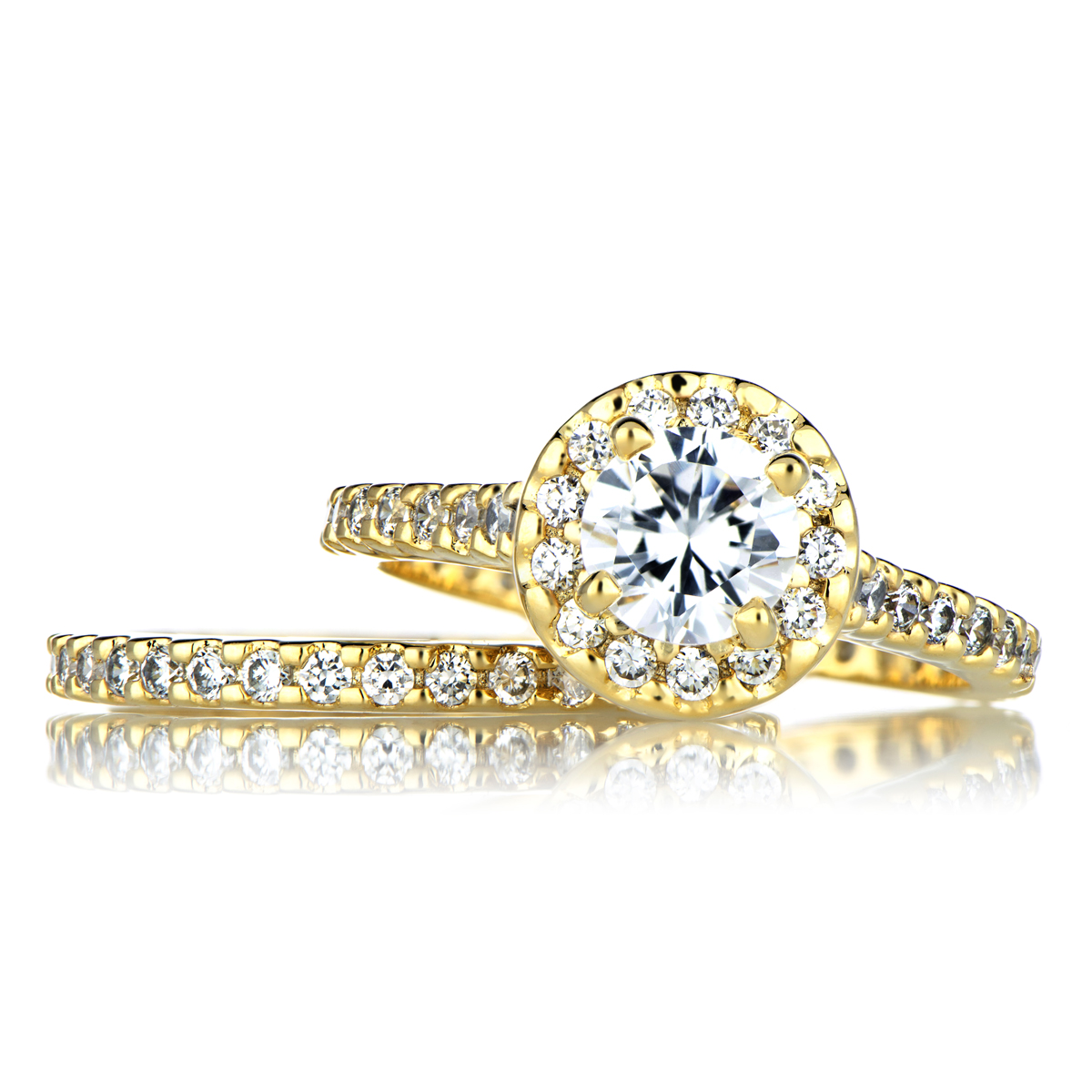 Gold Cubic Zirconia Wedding Ring Set Emitations
