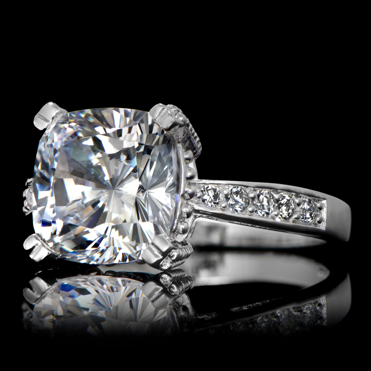 Radiant 5 carat Cushion Cut CZ Engagement Ring