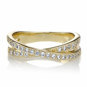 Katherine's Gold Tone Cubic Zirconia Double Row Crossed Anniversary Ring