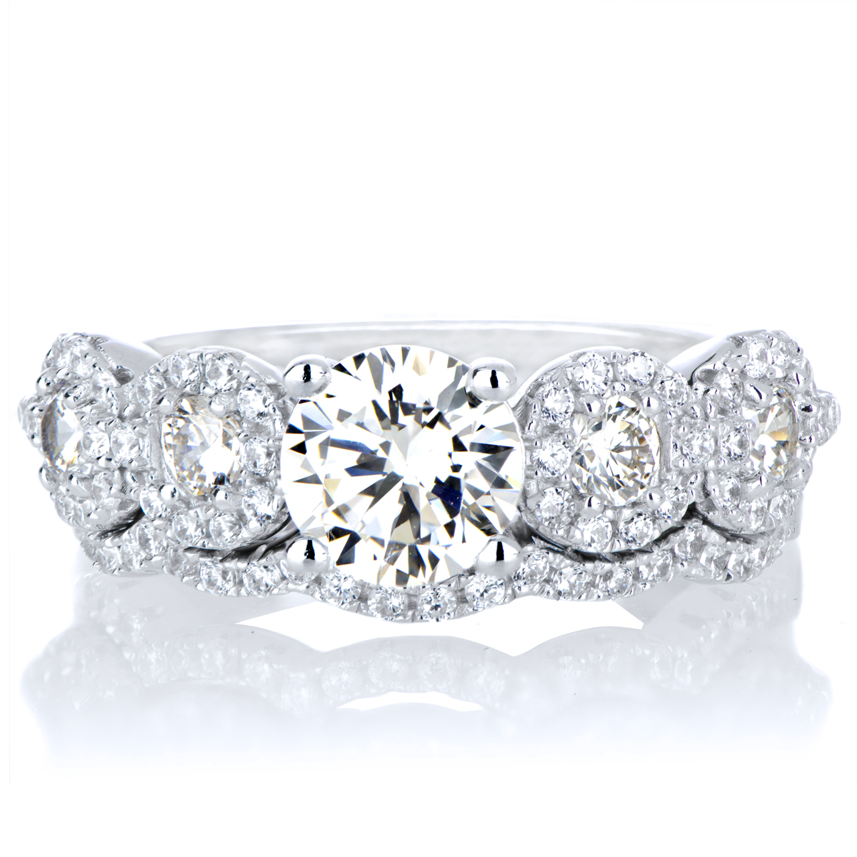 Kathias 5 Stone CZ Antique Style Wedding Ring Set