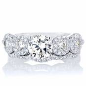 Kathia's 5 Stone CZ Antique Style Wedding Ring Set