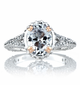 Katie's 2.5 Carat Oval Cut CZ Ring with Rose Gold Prongs