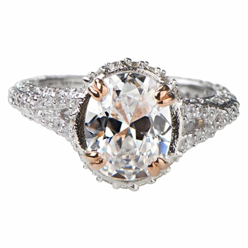 Katie's 2.5 Carat Oval Cut CZ Ring with Rose Goldtone Prongs