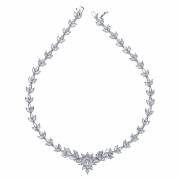 Katinka's 3 Leaf Flower CZ Necklace