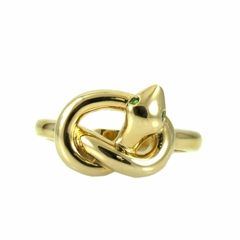 Katrina's Knotted snake Ring - Goldtone