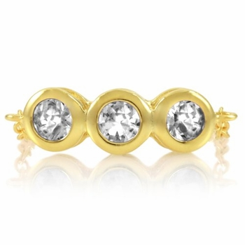 Kay's April Birthstone Chain Link Triple Stone Ring - Diamond CZ, Gold Plated