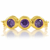 Kay's February Imitation Birthstone Chain Link Triple Stone Ring - Purple CZ, Goldtone