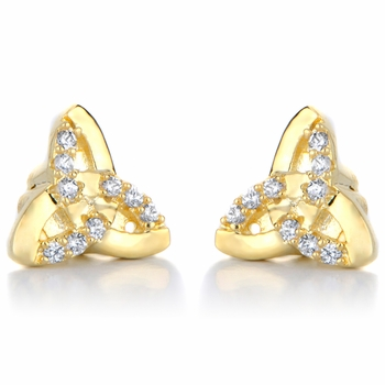 Kayla's Goldtone Triangle Knotted Magnetic Earrings
