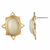 Kazia's Gold Starburst Moonstone Stud Earrings