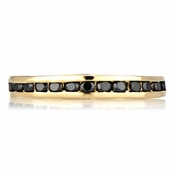 Kee's Goldtone Eternity Ring - Black CZ