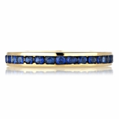 Kee's Goldtone Eternity Ring - Blue CZ