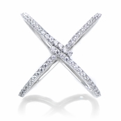 Keiki's Sterling Silver CZ Cross Cocktail Ring