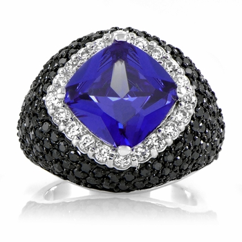 Keilani's Blue and Black CZ Ring