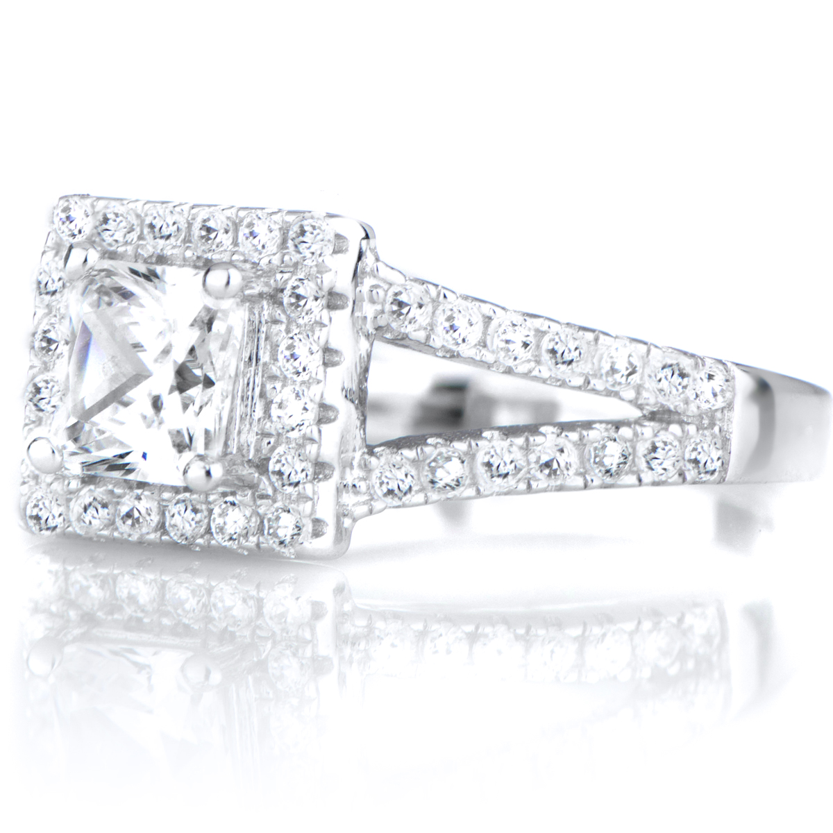 kettie s princess cut cz halo wedding ring set