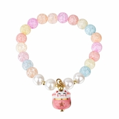 Lucky Cat Beaded Friendship Bracelet - Blue & Pink